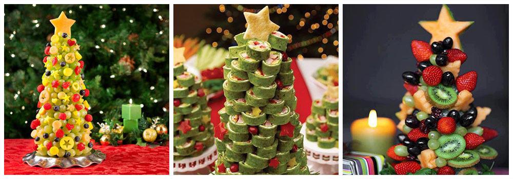 Елка из фруктов для украшения новогодних блюд