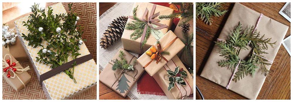 Природный декор для упаковки подарка на новый год