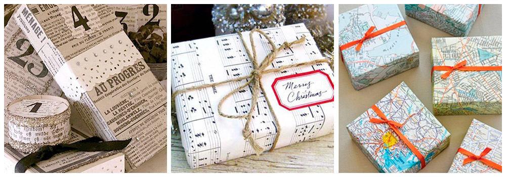 Тематическая бумага для упаковки подарка на Новый год