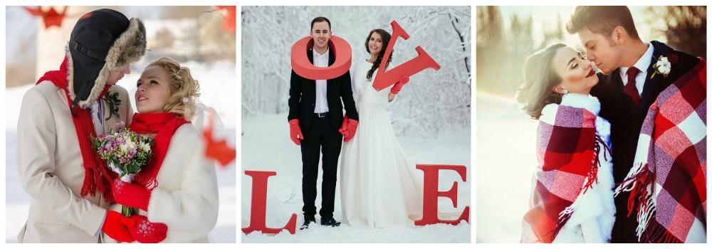 Жених и невеста на зимней свадьбе
