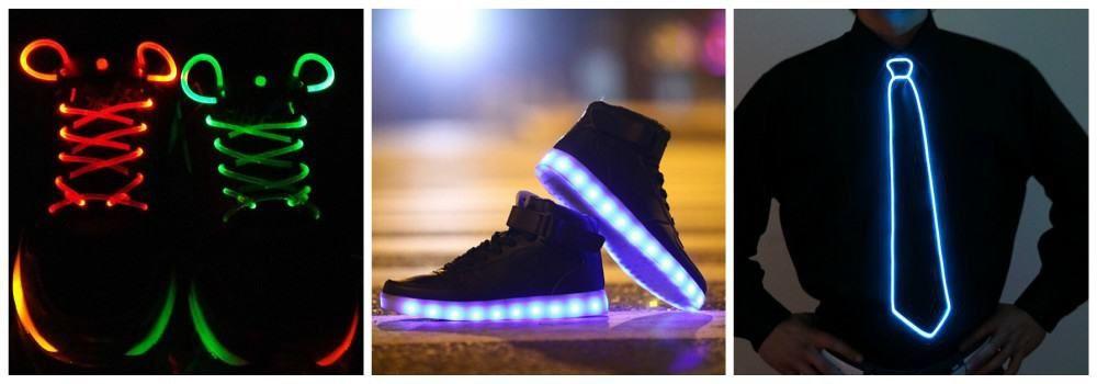 Светящиеся шнурки, кроссовки, галстук