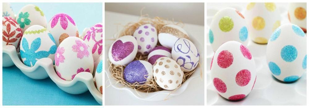 Оформление яиц блестками к Пасхе