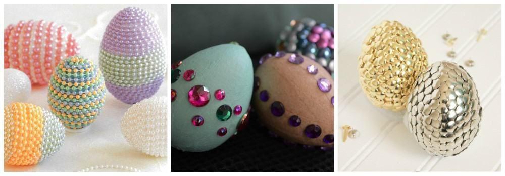Декорирование яиц стразами, бусинами и пайетками к Пасхе