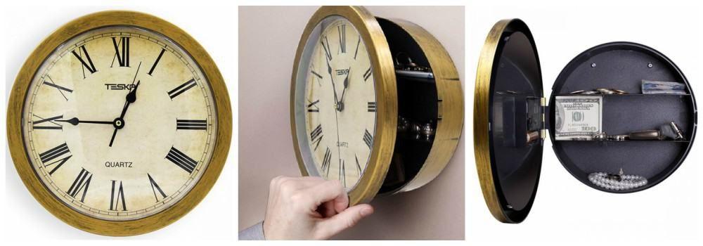 Сейф в виде настенных часов в подарок