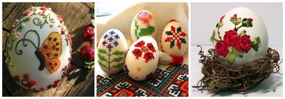 Вышивка на яйцах к Пасхе