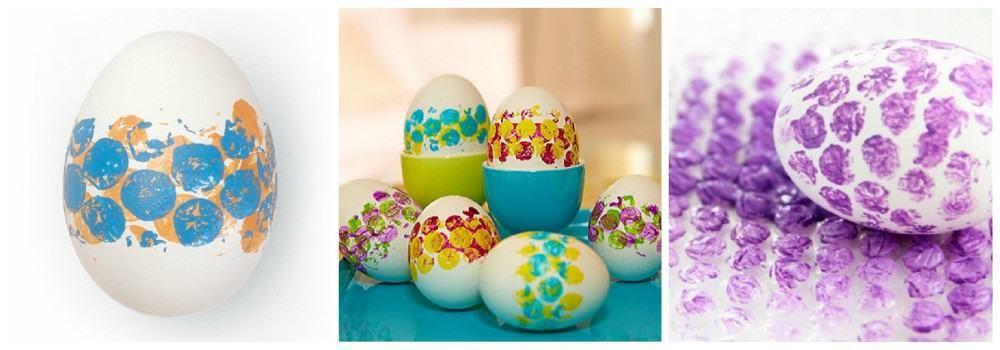 Окрашивание яиц с помощью воздушно-пузырчатой пленки к Пасхе