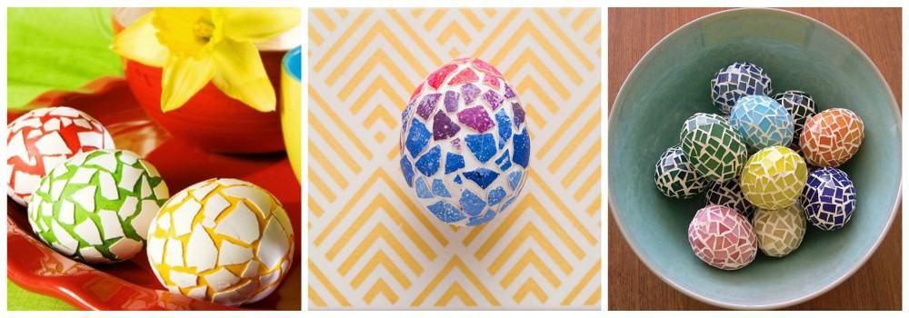 Оформление яиц мозаикой из скорлупы к Пасхе