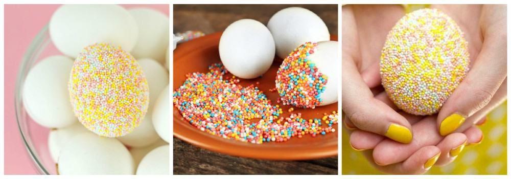 Обваливание яиц в кондитерской посыпке к Пасхе