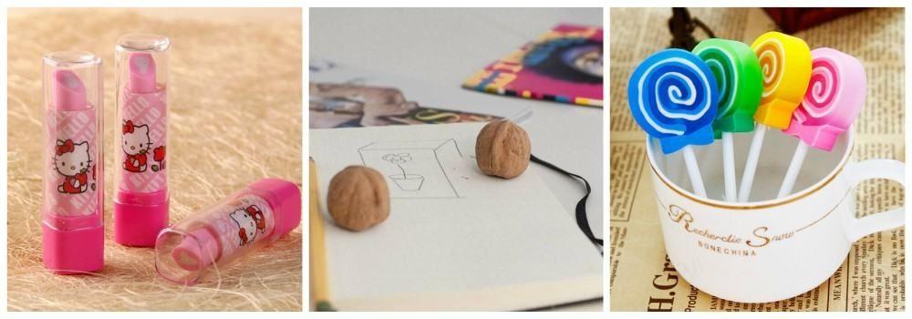 Ластик в виде конфет, орехов и губной помады в подарок