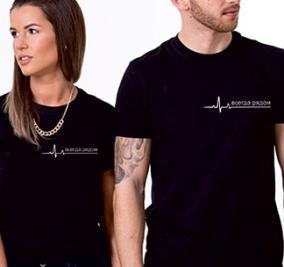 """Парные футболки для двоих """"Всегда рядом"""" кардио от 1 900 руб"""