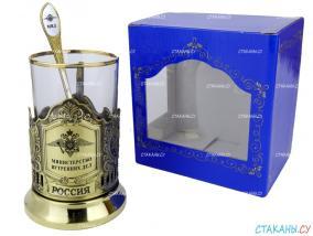 """Набор для чая: подстаканник """"МВД"""" гравировка, латунный, стекл. стакан, ложка от 1 890 руб"""