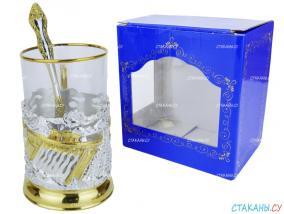"""Набор для чая: подстаканник """"Энергетики"""" серебрение, золочение, стекл. стакан, ложка от 8 300 руб"""