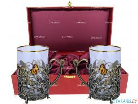 """Набор для чая: подстаканник """"Колокольчики"""" точное литье. футляр под два подстаканника, стекл. стаканы, ложки от 11 080 руб"""