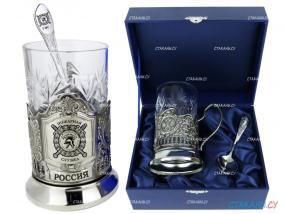 """Подстаканник """"ГПС, Пожарная служба"""" гравировка, никелированный. Набор для чая (3 пр.): футляр лежа, хруст. стакан, ложка от 2 640 руб"""