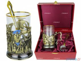 """Набор для чая: подстаканник """"ВДВ"""" точное литье. футляр, стекл. стакан, ложка от 5 690 руб"""