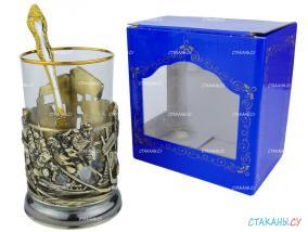 """Подстаканник """"Хоккей"""" точное литье. Набор для чая (3 пр.): картонная коробка, стекл. стакан, ложка от 4 790 руб"""