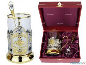 """Набор для чая: подстаканник """"Отечество Долг Честь"""", позолоченный. футляр, стекл. стакан, ложка от 3 990 руб"""