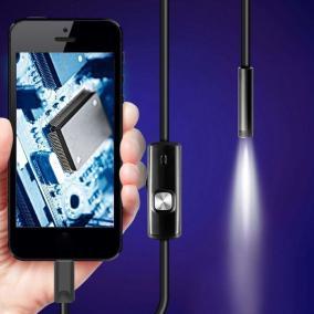 Гибкая камера с подсветкой (Эндоскоп) для смартфона Android или для ПК на Windows, 1,5 м (Micro USB, USB) от 990 руб