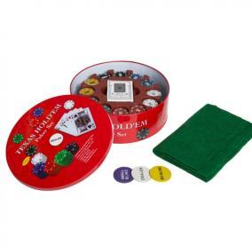 Покерный набор с номиналом и сукном 240 фишек в круглой металлической коробке от 1 690 руб
