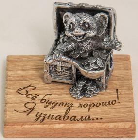 """Фигурка мельхиоровая """"Всё будет хорошо! Я узнавала…""""(мышка в сундуке с монетами) 7*7*5,5 см от 1 290 руб"""