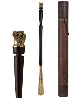 """Рожок для обуви """"Лев"""" большой, 68 см (латунь, венге) в тубусе от 5 400 руб"""