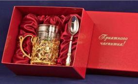 """Чайный набор с подстаканником """"Колокольчик"""" (латунь с золотым покрытием) от 14 200 руб"""
