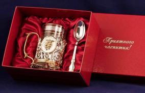 """Чайный набор с подстаканником """"Чай. Малина"""" (латунь с серебряным и золотым покрытием) от 12 900 руб"""