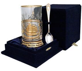"""Набор для чая """"Парусник"""" в/з с тостом- поздравлением на подстаканнике в бархатном футляре от 8 300 руб"""