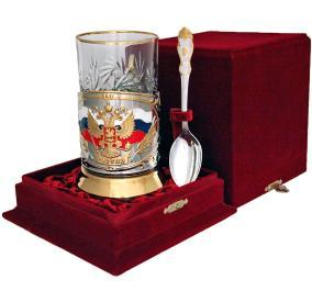 """Набор для чая """"Герб России"""" в/з в бархатном футляре от 11 800 руб"""