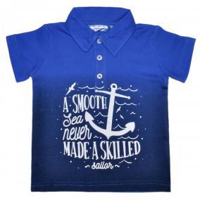 "Рубашка-поло детская ""A smooth sea never made a skilled"", 3-7 от 460 руб"