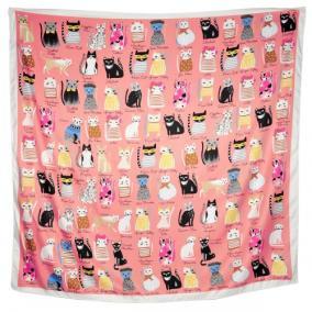 """Платок женский, шелковый """"Кошки"""" (розовый) от 350 руб"""