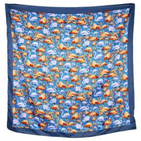 """Платок женский, шелковый """"Фламинго"""" (синий) от 350 руб"""