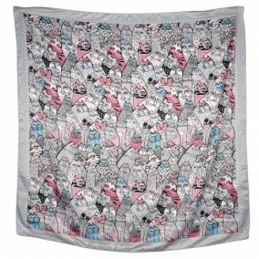 """Платок женский, шелковый """"Cats"""" -24 от 350 руб"""