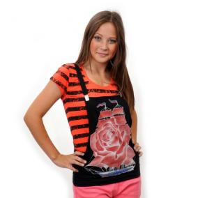 """Комплект: футболка и жилет-подтяжки """"Парусник"""" (orange) от 540 руб"""