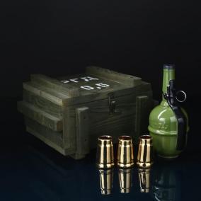 """Подарочный набор в деревянном ящике с рюмками """"Граната РГД"""" от 2 990 руб"""