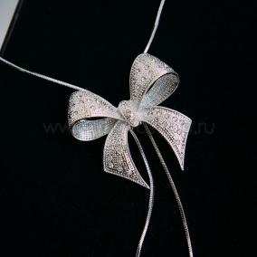 "Кулон-галстук ""Презент"" с австрийскими кристаллами, покрытие - родий от 2 300 руб"