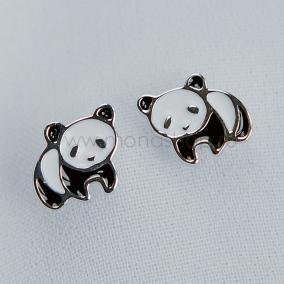 Серьги детские серебряные «Маленькая панда» с черной и белой эмалью от 1 600 руб