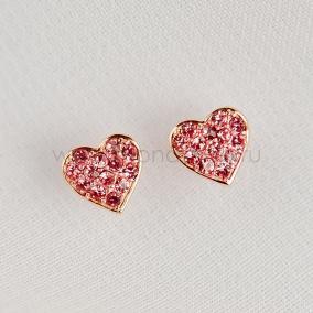Серьги детские серебряные «Розовое сердце» с россыпью фианитов, покрытие - золото от 1 600 руб