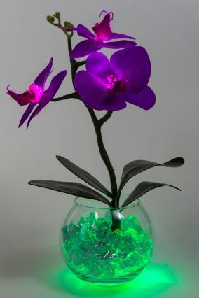 """Ночник """"Орхидея"""" фиолетово-зеленый, 3 цветка от 2 190 руб"""