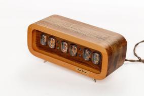 Ламповые ретро часы - деревянные комбинированные бук+дуб от 15 990 руб