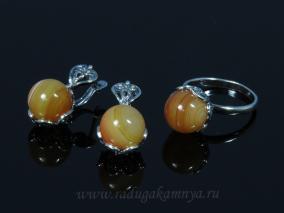 Кольцо Серьги с сердоликом размер 20 от 500 руб