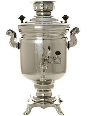 """Жаровой самовар на дровах 2,5 литра никелированный """"цилиндр"""" рифленый от 14 900 руб"""