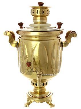 """Комбинированный самовар 5 литров желтый """"цилиндр"""" рифленый от 22 500 руб"""