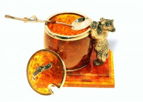 "Сувенир Бочонок для мёда ""Медведь"", янтарь от 40 595 руб"