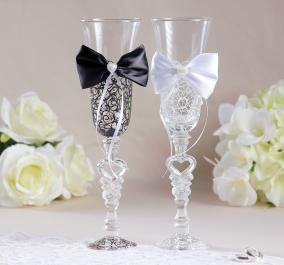 Набор свадебных бокалов «Бант», чёрно-белый от 1 200 руб