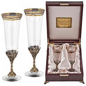 """Набор из 2-х бокалов для шампанского """"Богемия"""" (в дерев. ларце) от 22 500 руб"""
