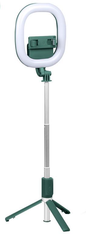 """Тренога + Селфи-кольцo 15,4 см 6"""" с держателем для телефонов R10 (высота 95 см) с пультом, темно-зеленый от 1 350 руб"""