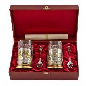 """Подарочный набор """"Чаепитие"""" с позолоченными подстаканниками (на 2 персоны) от 11 200 руб"""