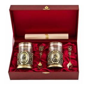 Подарочный набор для чая с подстаканниками Петр I и Екатерина II (на 2 персоны) от 13 800 руб