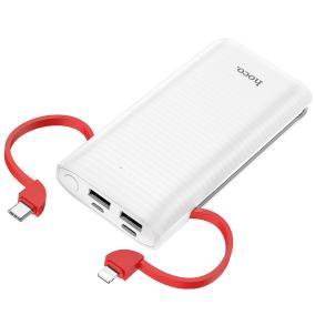 Power Bank 10000 mAh с 2 USB 2A/2A + 2 встроенных кабеля (Type-C и Lightning) (HOCO J67) с индикатором (Белый) от 1 150 руб